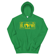 Load image into Gallery viewer, Black Power License Tag Gold Hoodie