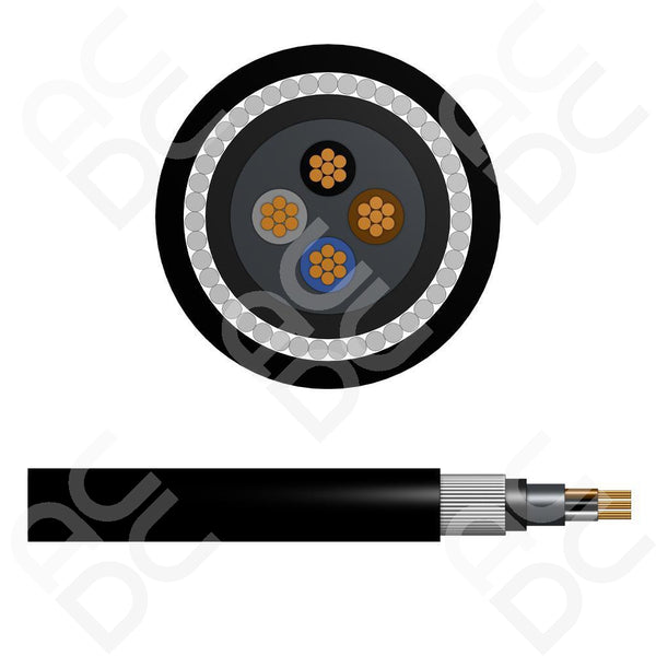 6.0mm Steel Wire Armoured Cable - 4 Cores (SWA) LSZH Sheathing
