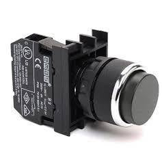 Extended Black Push Button - B102HH - 22mm - 1 NO + 1 NC