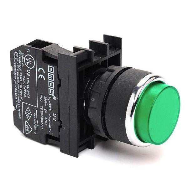 Extended Green Push Button - B202HY - 22mm Diameter - 2 NC