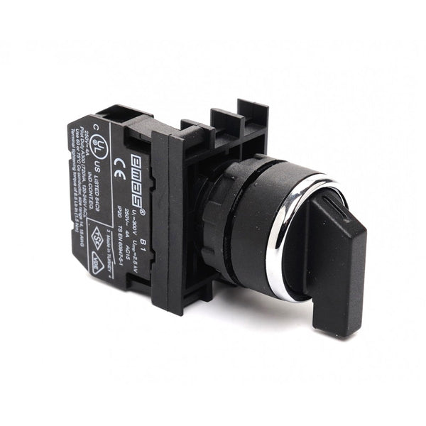 EMAS Spring Return Selector Switch - B100R21 - 45˚ (0-1) - 1 NO