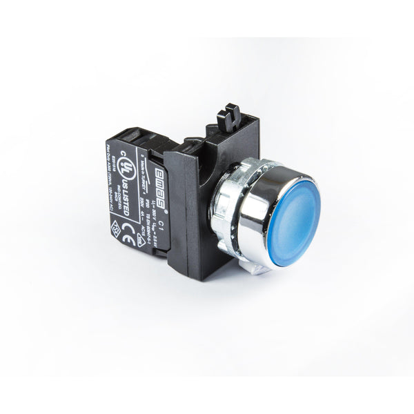 Metal Blue Push Button - CM202DM - IP65 - 2 NC