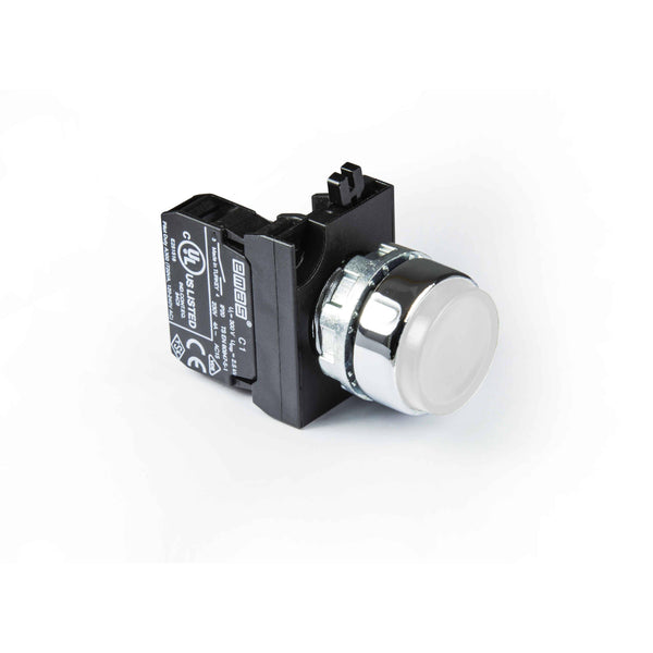 Metal White Extended Push Button - CM200HB - IP65 - 1 NC