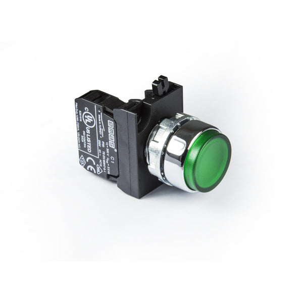 Metal Green Extended Push Button - CM202HY - IP65 - 2 NC