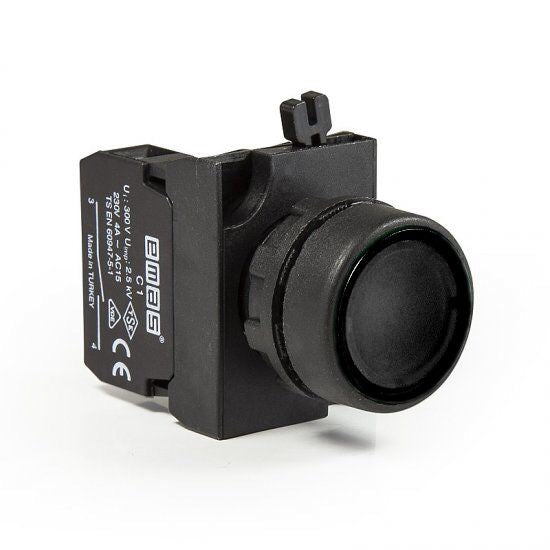 Round Black Push Button - CP200DH - IP65 - 2 NO