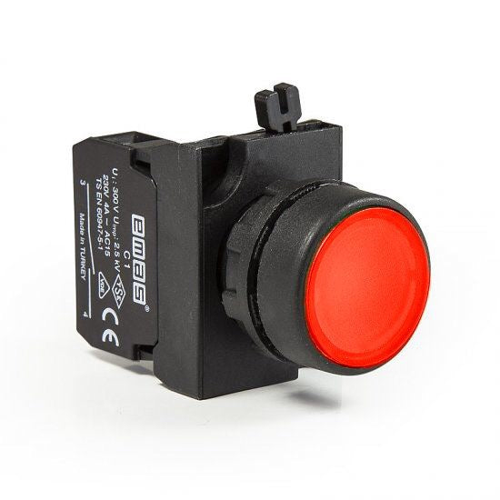 Round Red Push Button - CP200DK - IP65 - 2 NO