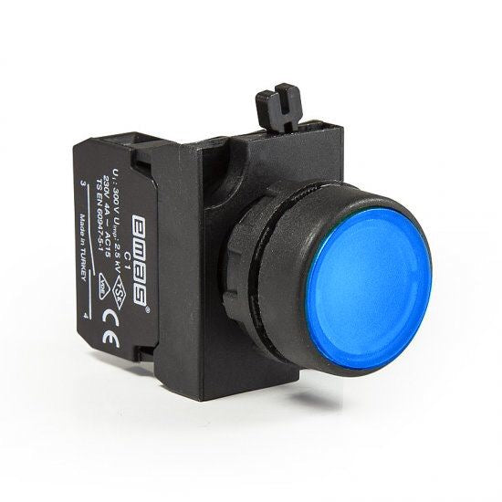 Round Blue Push Button - CP100DM - IP65 - 1 NO