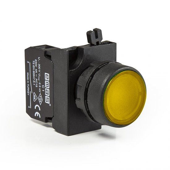 Round Yellow Push Button - CP102DS - IP65 - 1 NO + 1 NC