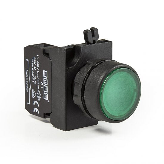 Round Green Push Button - CP200DY - IP65 - 2 NO