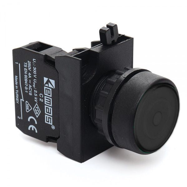 Round Black Push Button (Stay Put) - CP200FH IP65 - 1 NC