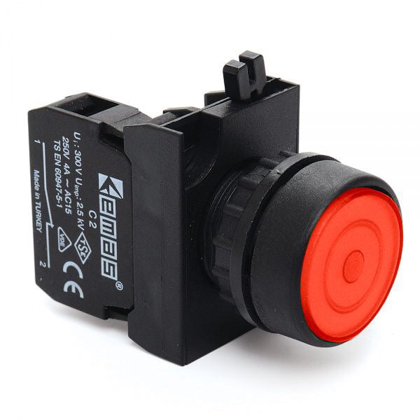 Round Red Push Button (Stay Put) - CP100FK IP65 - 1 NO