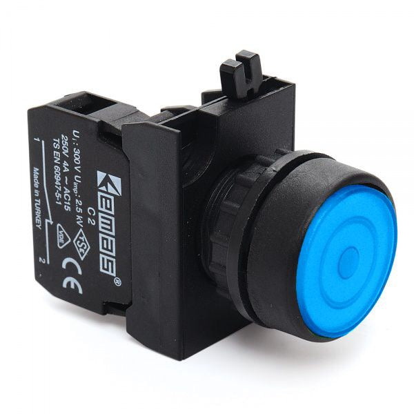 Round Blue Push Button (Stay Put) - CP200FM IP65 - 1 NC