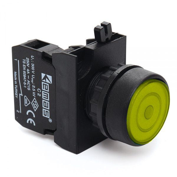Round Yellow Push Button (Stay Put) - CP100FS IP65 - 1 NO