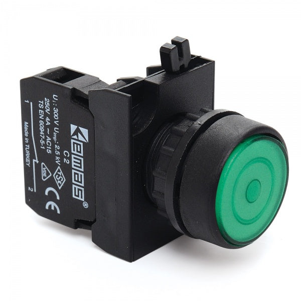 Round Green Push Button (Stay Put) - CP200FY IP65 - 1 NC