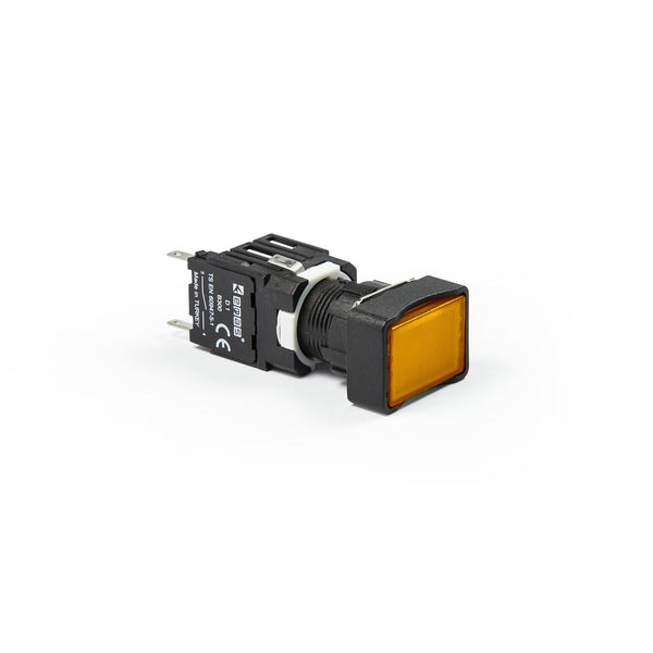 Rectangular Yellow Push Button - D101DDS - IP50 - 2 NO
