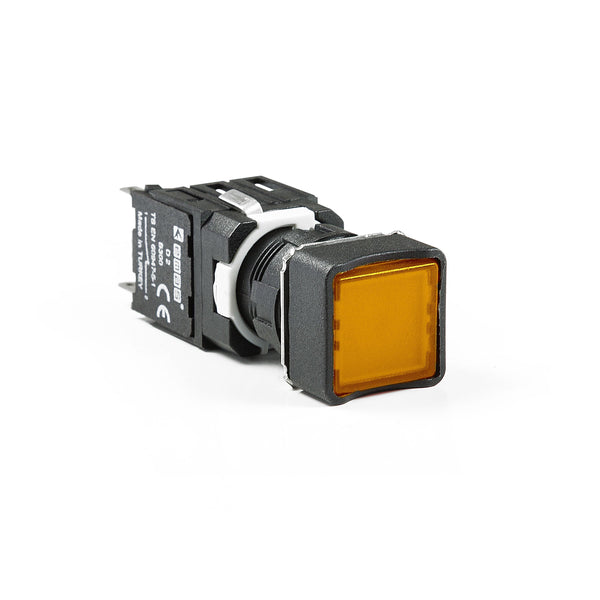 Square Yellow Push Button - D202KDS - IP50 - 2 NC