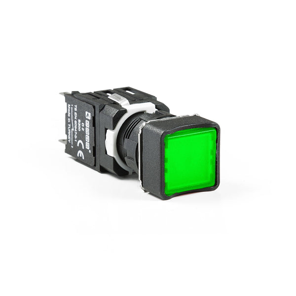 Square Green Push Button - D102KDY - IP50 - 1 NO + 1 NC