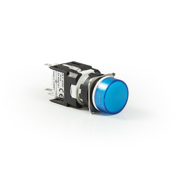 Circular Blue Push Button - D100YDM - IP50 - 1 NO