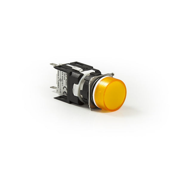 Circular Yellow Push Button - D202YDS - IP50 - 2 NC