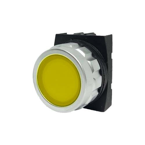 Encased Yellow Push Button - H102DS - IP50 - 1 NO + 1 NC