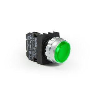 Encased Green Extended Push Button - H202HY - IP50 - 2 NC