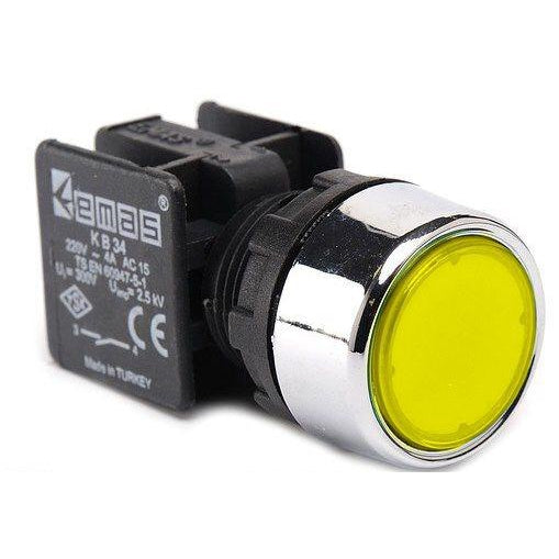 Metal Yellow Push Button - KB34DS - IP40 - 1 NO