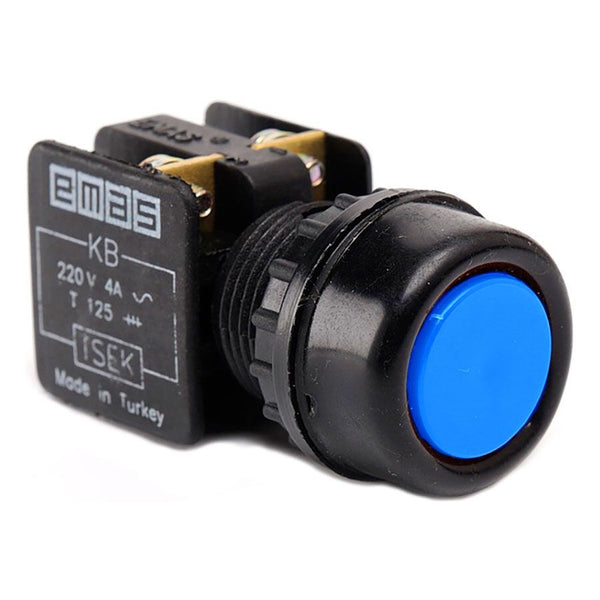 Metal Blue Push Button - KB14RM - IP40 - 1 NO + 1 NC