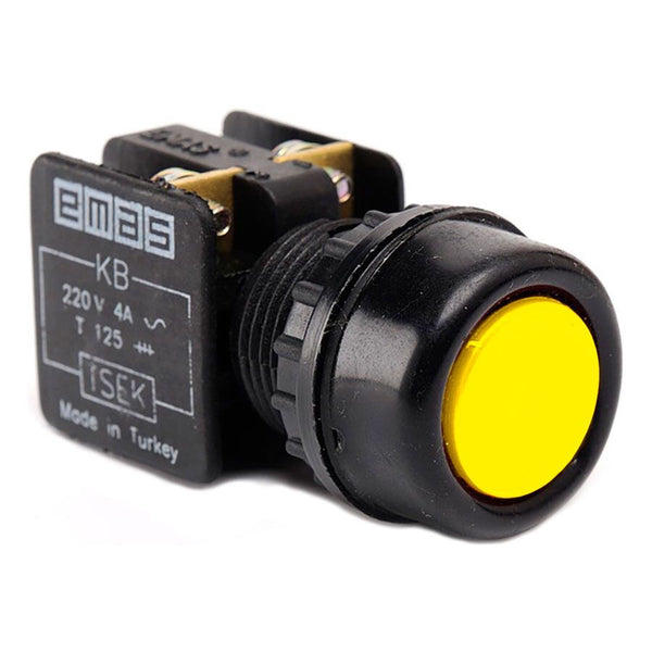 Metal Yellow Push Button - KB14RS - IP40 - 1 NO + 1 NC
