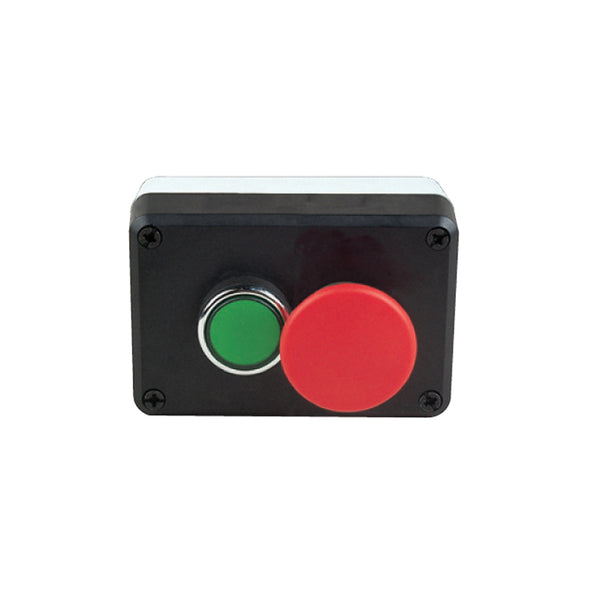 Control Box with 1 Green and 1 Red Stop Button - IP65 - EMAS
