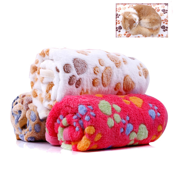 Warm Paw Print Dog Blanket
