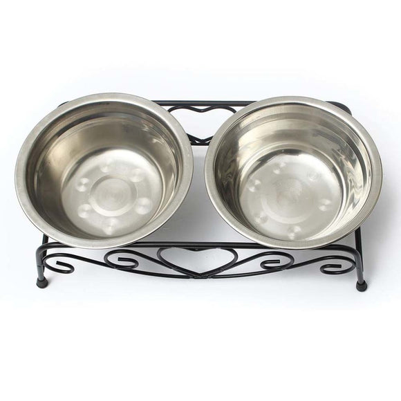 Stainless Steel Double Elevated Raised Dog Bowl