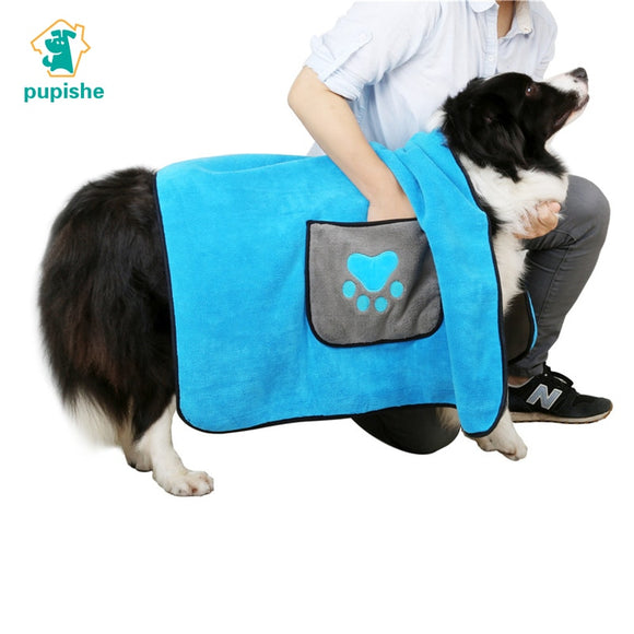 Ultra-Absorbent Two-Tone Microfibre Dog Bath Towel