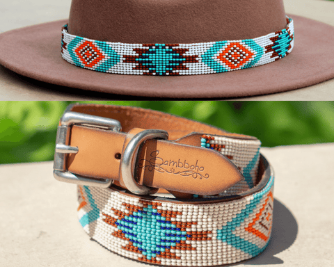 Aztec dog collar/hatband bundle