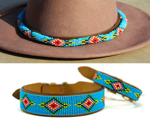 Blue Vogue dog collar/hatband bundle