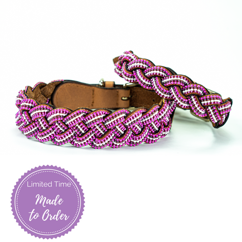 Pink Braided Sambboho dog collar (made to order)