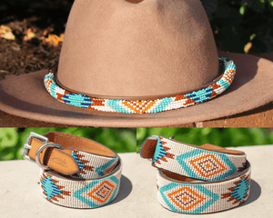 Aztec dog collar/hatband bundle (rounded hatband)