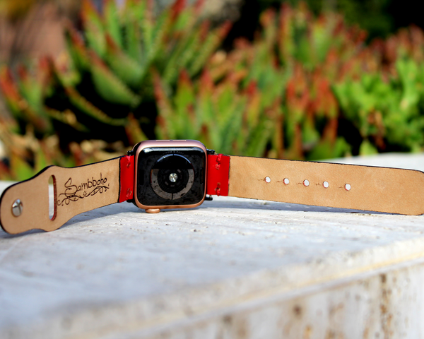 Braided Red Leather Apple Watch Band