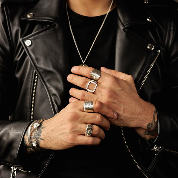 MEN'S SILVER CHUNKY RINGS JEWELLERY