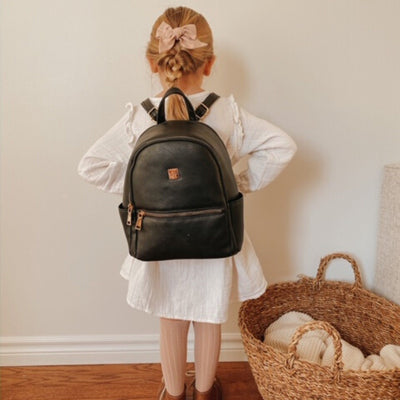Mini Vegan Leather Backpack - Sleepy Panda diaper bag backpack stroller straps changing pad