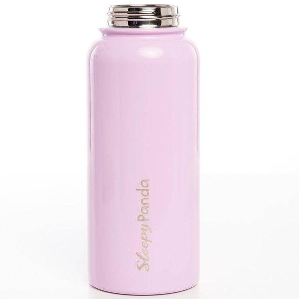 "Water Bottle with Straw Lid 32oz Rose Quartz Pink - ""Panda Flask"" - Sleepy Panda"