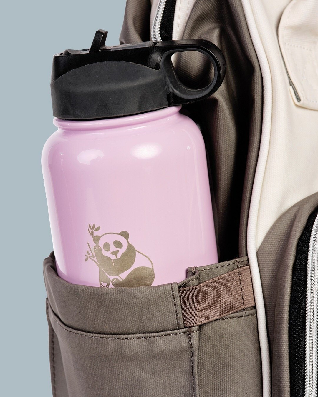 Panda Flask - Sleepy Panda diaper bag backpack stroller straps changing pad