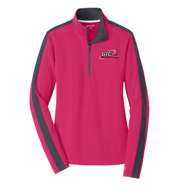 Sport-Tek® Ladies Sport-Wick® Textured Colorblock 1/4-Zip Pullover