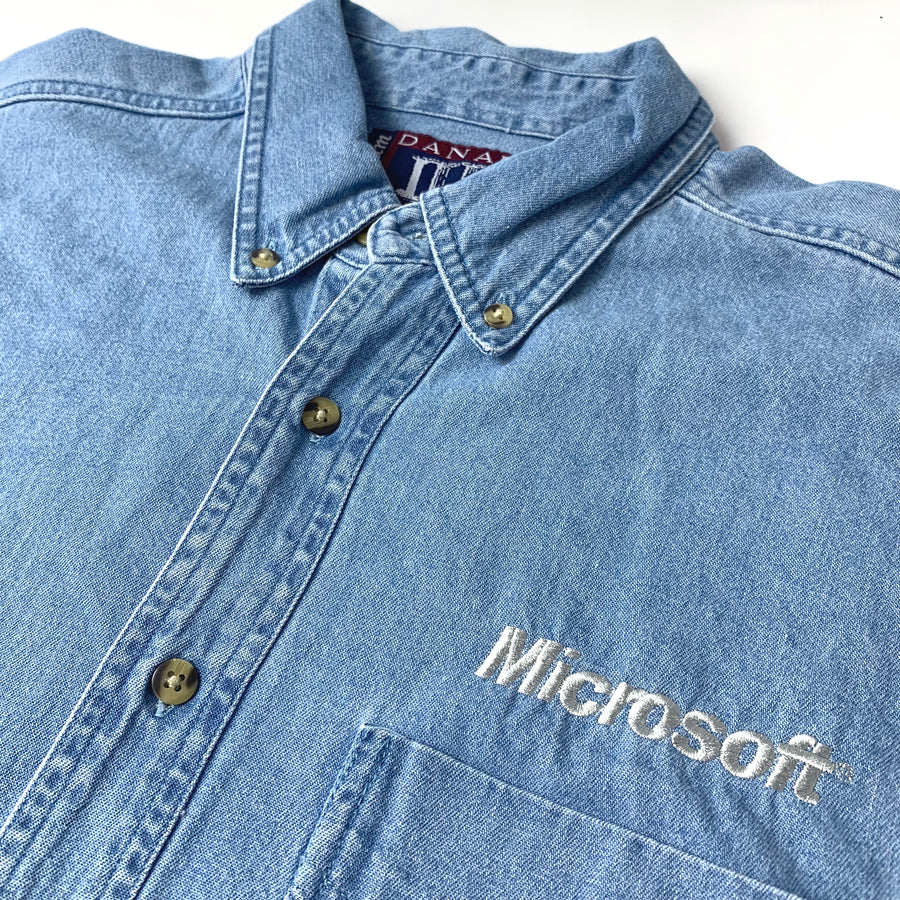 90's Microsoft Embroidered Denim Shirt