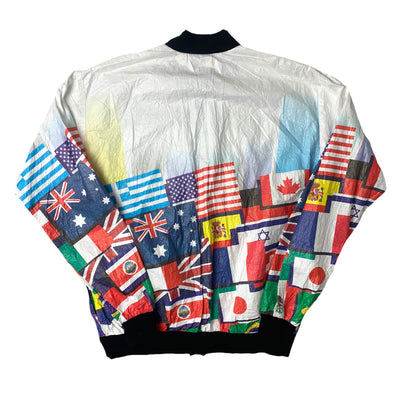 90's All Over Flag Shell Zip Up Jacket