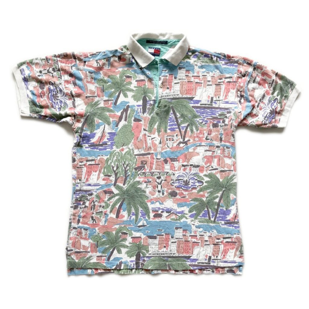 90 s Tommy Hilfiger Hawaiian Polo Shirt 119188d9b