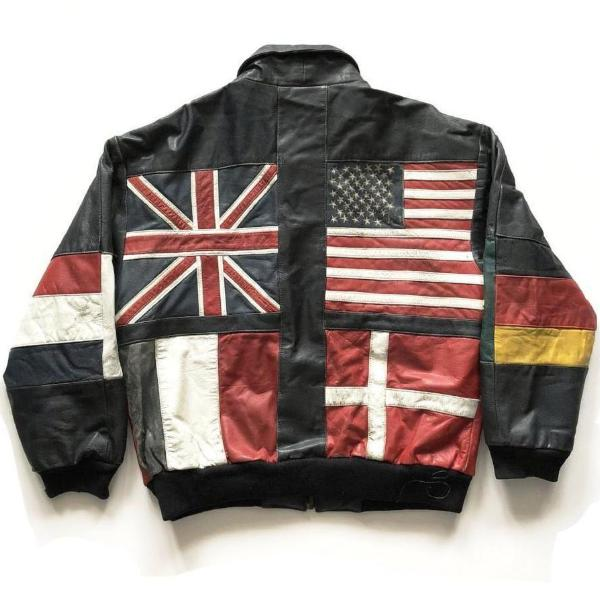 80's Flag Motif Zipped Leather Bomber Jacket