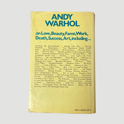 1975 Andy Warhol 'The Philosophy of Andy Warhol : From A to B' & Back Again UK 1st Edition