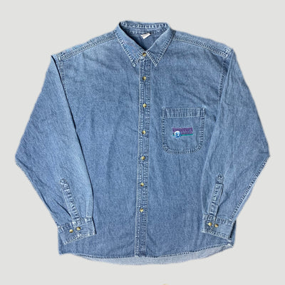 90's Discovery Channel Denim Chambray Work Shirt