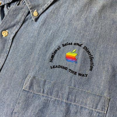 90's Apple Staff Denim Chambray Shirt