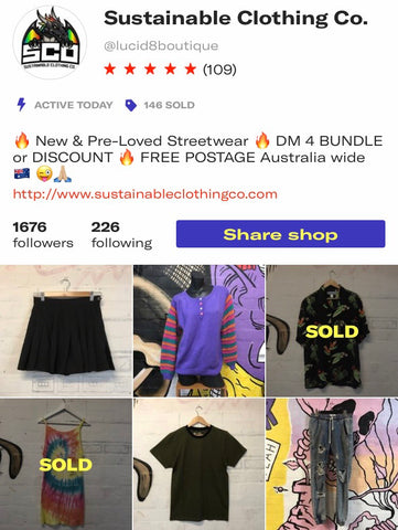 sustainable clothing depop